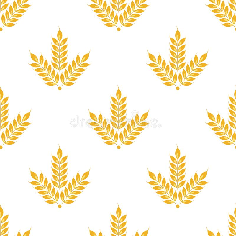 Уши вектора безшовные картины пшеницы Изолировано на белизне бесплатная иллюстрация