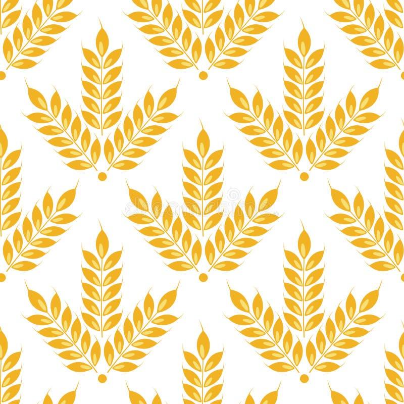 Уши вектора безшовные картины пшеницы Изолировано на белизне иллюстрация штока