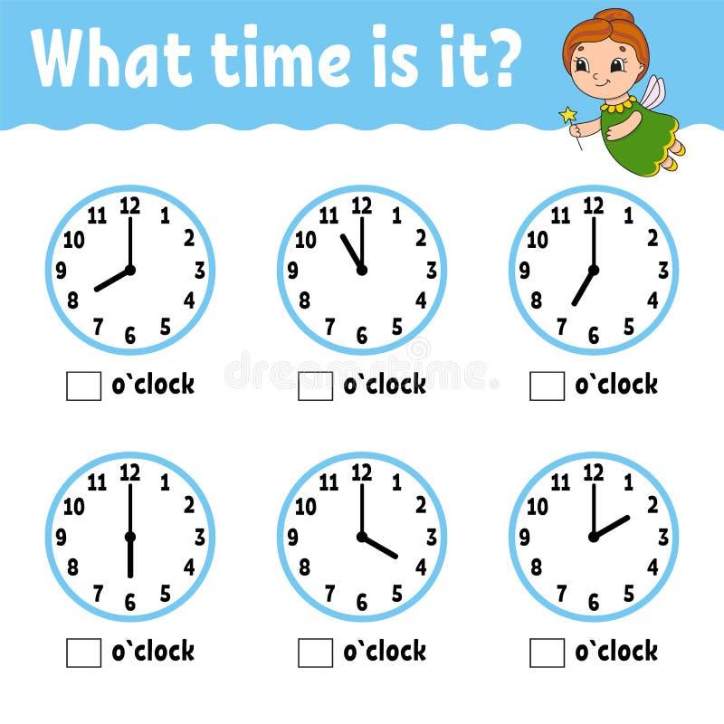 Уча время на часах Рабочее лист образовательной деятельности для детей и малышей Игра для детей Простой вектор изолированный квар иллюстрация штока