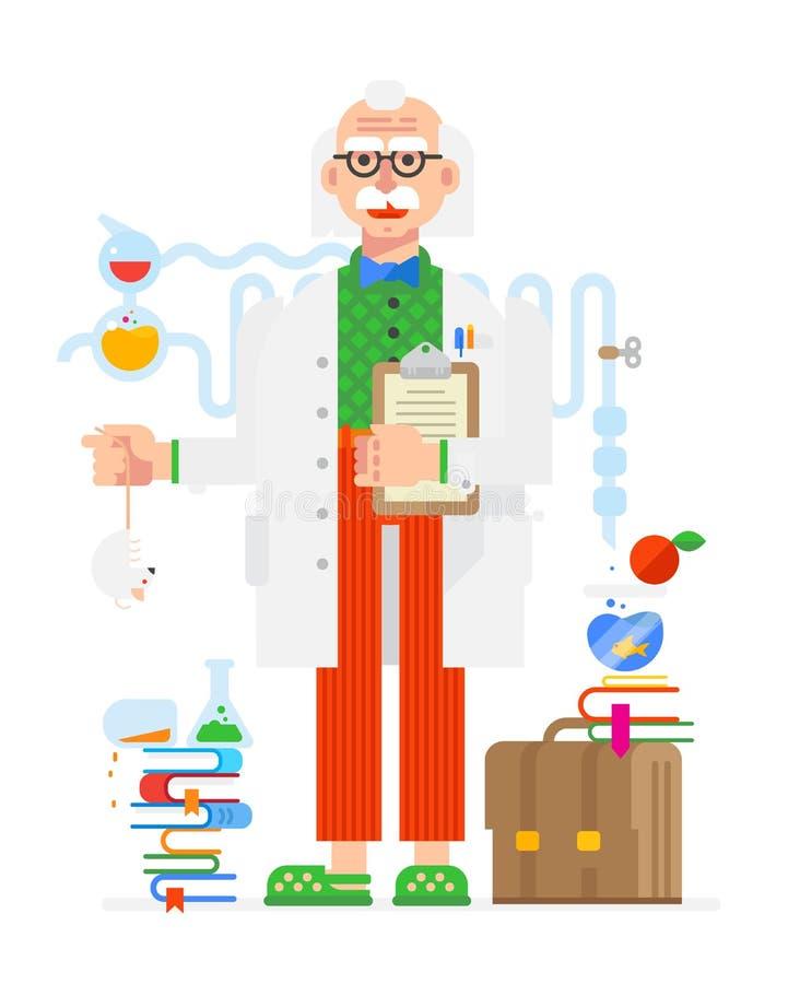 Ученый в стиле шаржа белизна путя предмета предпосылки изолированная клиппированием Плоская иллюстрация Дизайн характеров шальной бесплатная иллюстрация