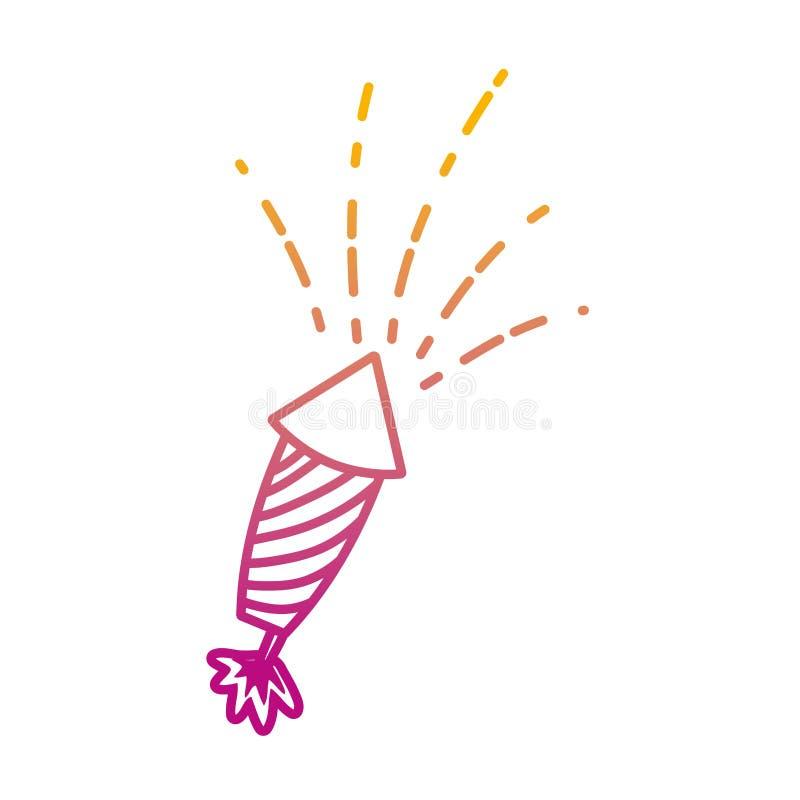Ухудшенная линия смешной фейерверк возражает торжество фестиваля t бесплатная иллюстрация