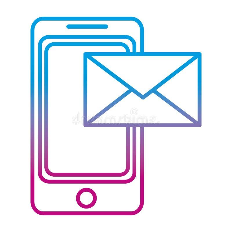 Ухудшенная линия технология смартфона с электронным электронным письмом бесплатная иллюстрация