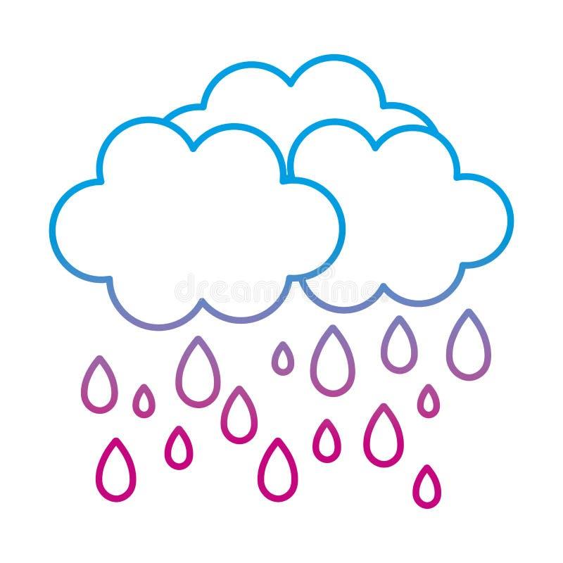 Ухудшенная линия облако природы пушистое идя дождь погода иллюстрация штока