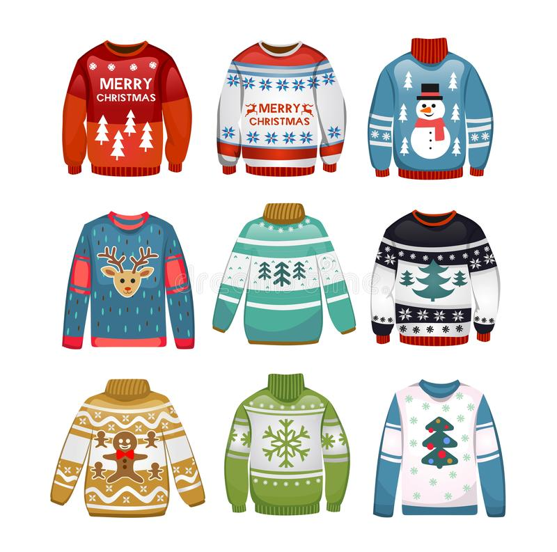 Ugly sweaters set isolated on white background. Christmas sweaters isolated on white background. Vector illustration for flyer, party etc stock illustration