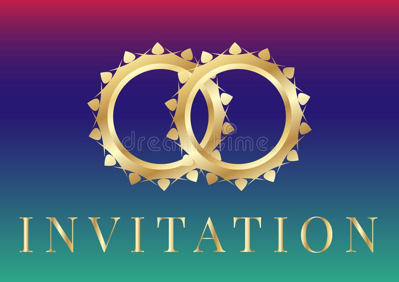 Шаблоны карты приглашения свадьбы с золотыми обручальными кольцами на радужной предпосылке иллюстрация вектора