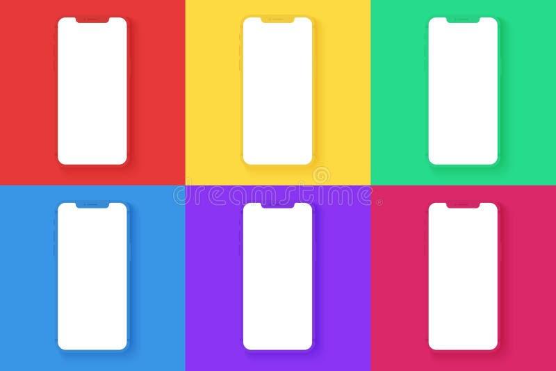 Шаблоны смартфона установили на различные яркие цвета придают квадратную форму предпосылке для infographic, визуального ui, комме иллюстрация штока