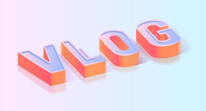 Шаблон вектора равновеликой проекции текста Vlog иллюстрация вектора
