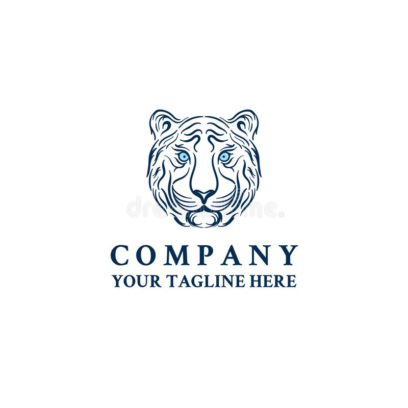Шаблон значка вектора логотипа стороны тигра главный иллюстрация штока