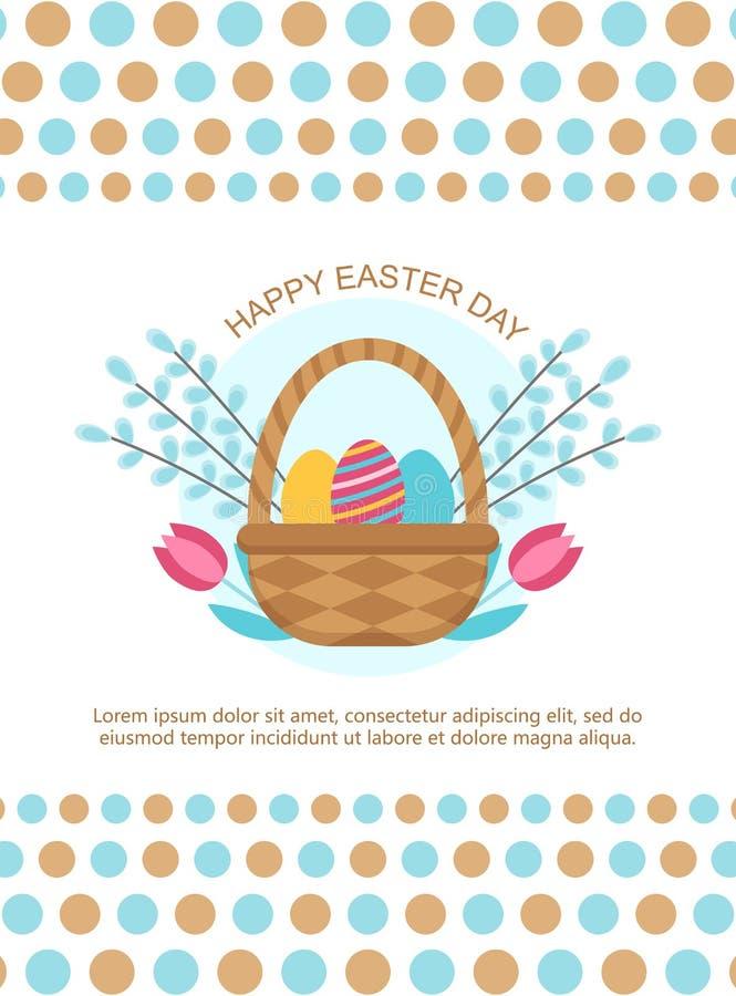 Шаблон карты пасхи с корзиной и яйцами бесплатная иллюстрация