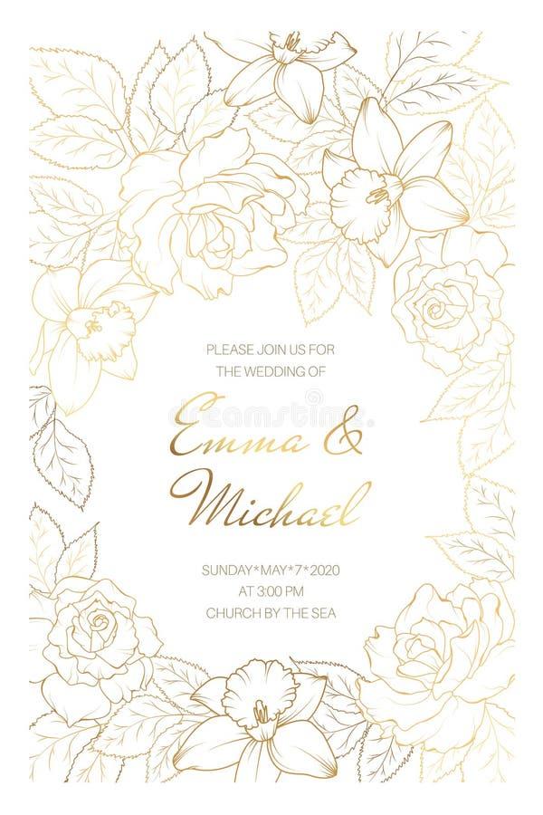 Шаблон карточки приглашения события замужества свадьбы Розовые цветки narcissus daffodil пиона План медного золота сияющий бесплатная иллюстрация