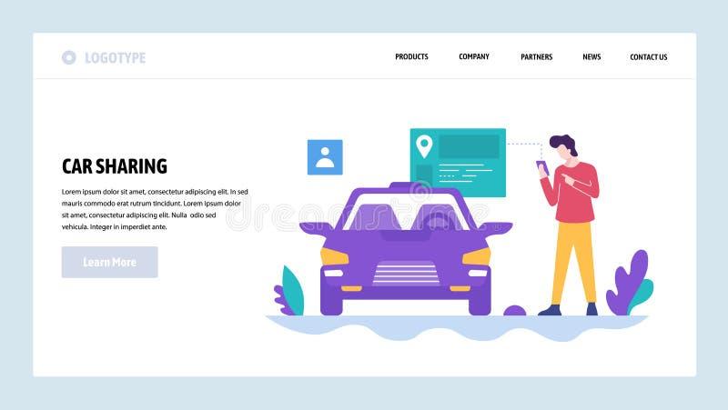 Шаблон конструкции вебсайта вектора Делить автомобиля Получите ваш автомобиль умным приложением телефона Концепции страницы посад иллюстрация штока