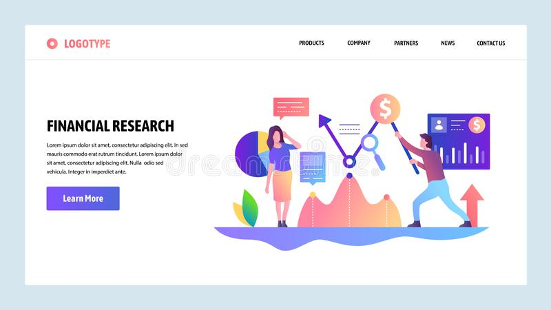 Шаблон конструкции вебсайта вектора Финансовое исследование вклад управления денежными средствами и денег Концепции страницы поса бесплатная иллюстрация