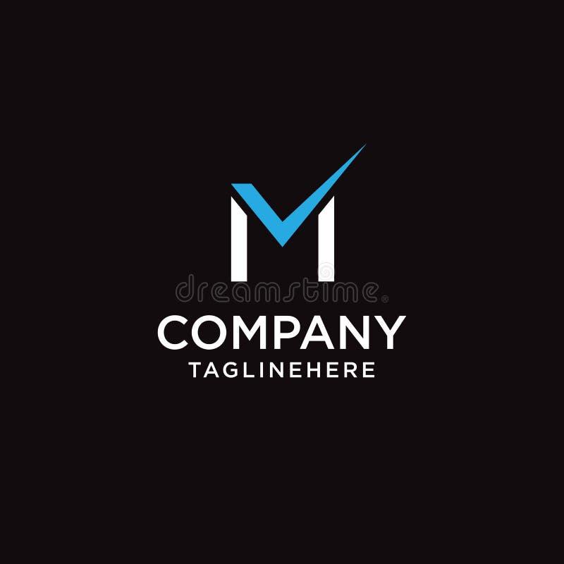 Шаблон дизайна значка логотипа контрольной пометки письма m иллюстрация вектора