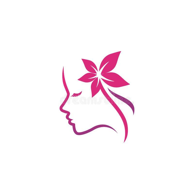 Шаблон дизайна логотипа спа красоты шаблон логотипа силуэта женщины иллюстрация штока