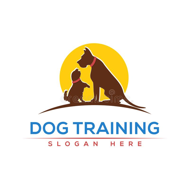 Шаблон дизайна логотипа собаки тренируя иллюстрация штока