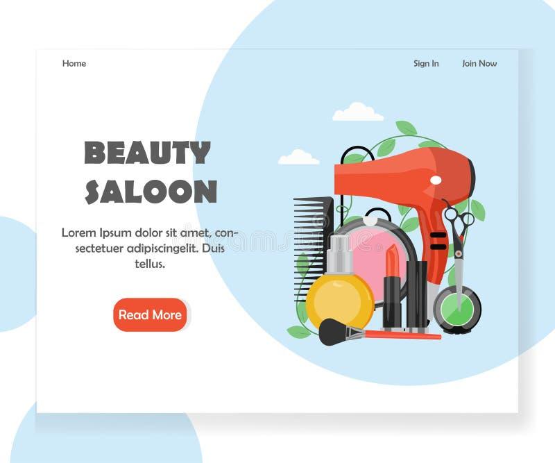 Шаблон дизайна страницы посадки вебсайта вектора салона красоты бесплатная иллюстрация