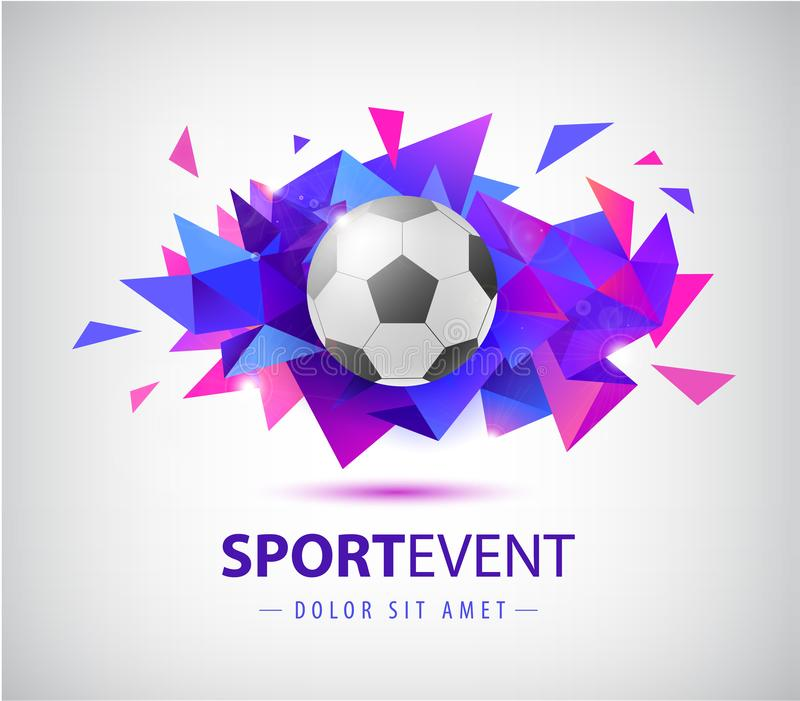 Шаблон дизайна футбола вектора абстрактный для крышек футбола, знамен, плакатов спорта, плакатов и летчиков с шариком фасетка иллюстрация штока