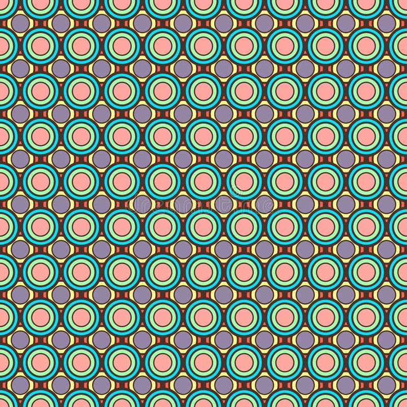 Abstract colorful pastel circles, geometric ornament, multicolor seamless pattern, round tile, retro illustration, geometry ball t vector illustration