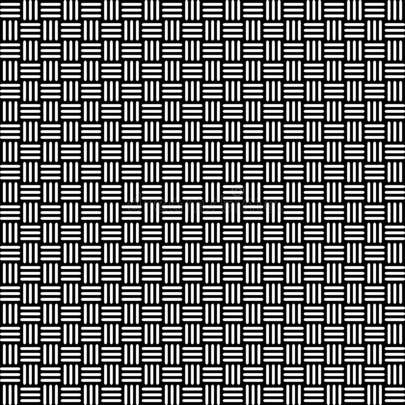 Geometric seamless pattern with black and white cross lines, monochrome braided ornament, classical hatching, graphic texture. Dec vector illustration