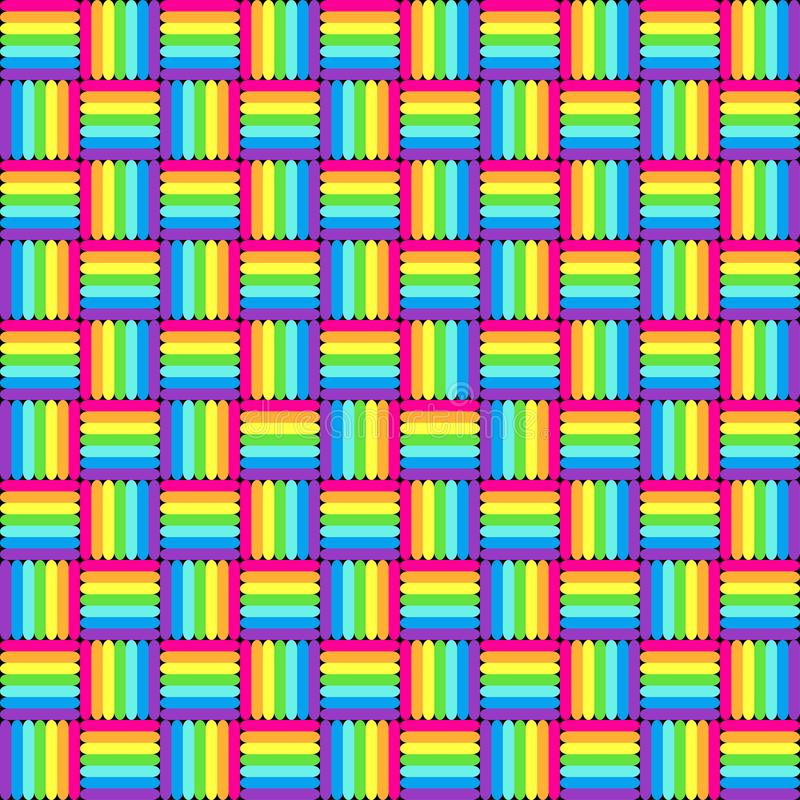 Geometric seamless pattern with multicolored cross lines, rainbow colors braided ornament, prism graphic texture. Decorative brigh stock illustration