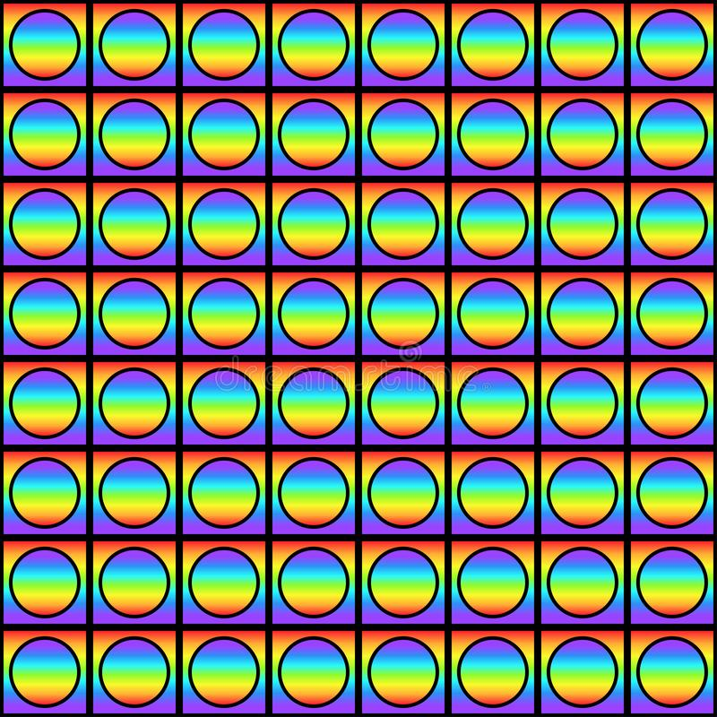 Geometric seamless pattern with multicolored gradient squares and circles, rainbow color abstract ornament, prism graphic texture. stock illustration