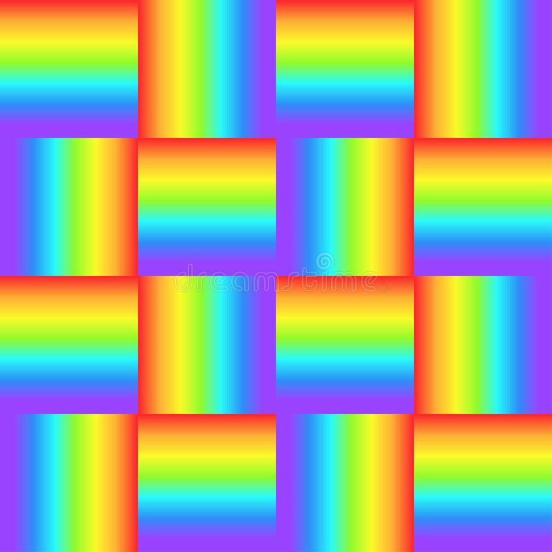 Squares, rainbow color braided ornament, prism graphic texture. Decorative bright checkered background, colorful cube surface vector illustration