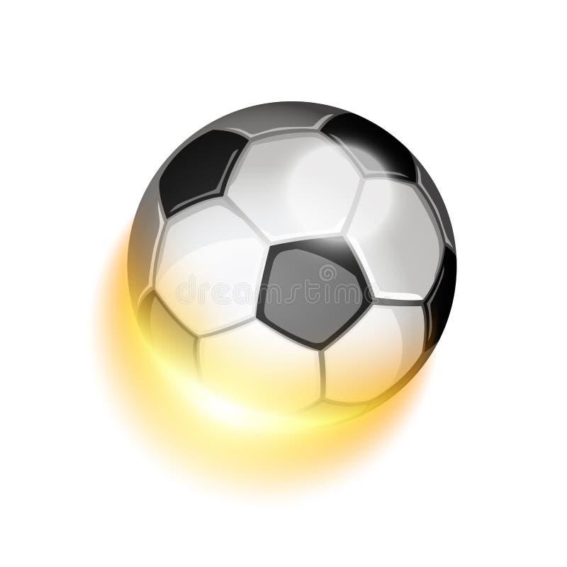 Шарик спорта футбола в огне иллюстрация вектора