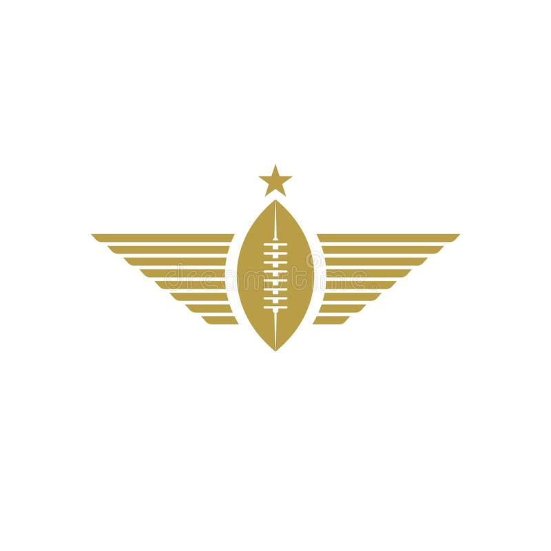 Шарик рэгби со значком крыльев, логотипом спорта модель-макета турнира американского футбола иллюстрация вектора