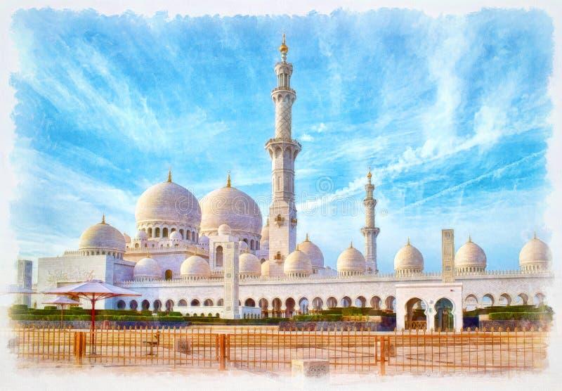 Шейх Zayed Больш Мечеть, картина акварели стоковая фотография rf