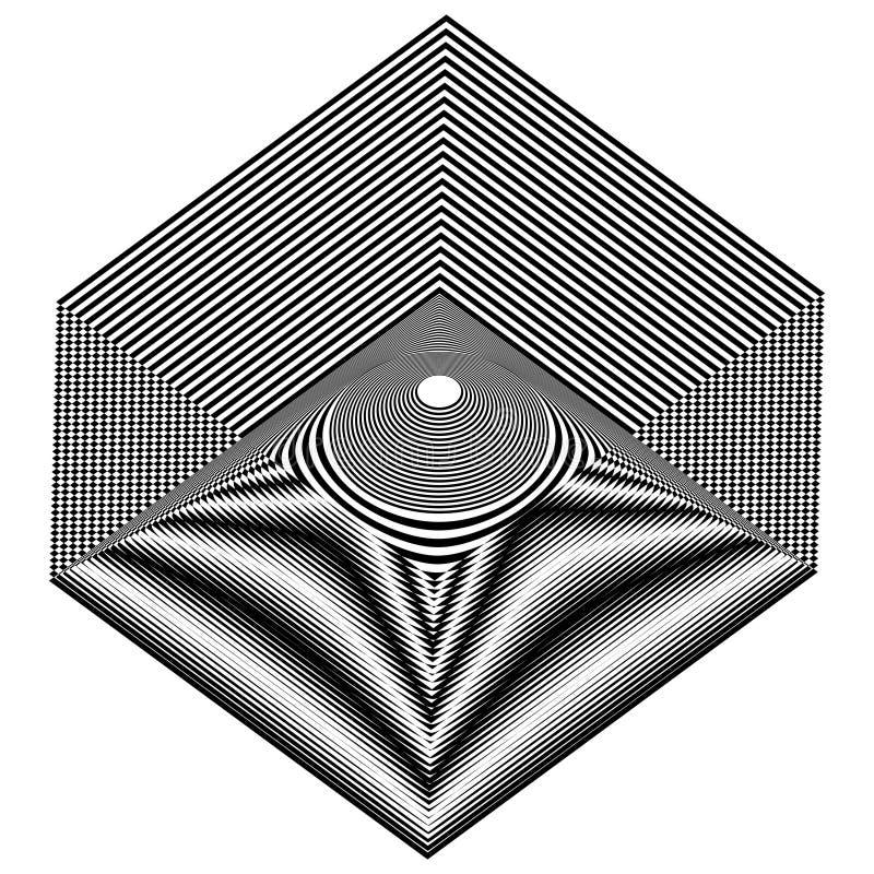 Шестиугольник конспекта черно-белый striped Геометрическая картина с визуальным эффектом искажения иллюстрация вектора