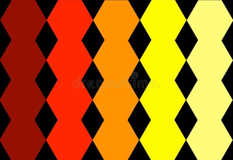 Шестиугольный красный оранжевый желтый геометрический дизайн в черной предпосылке абстрактная текстура Смогите быть использовано  стоковое изображение