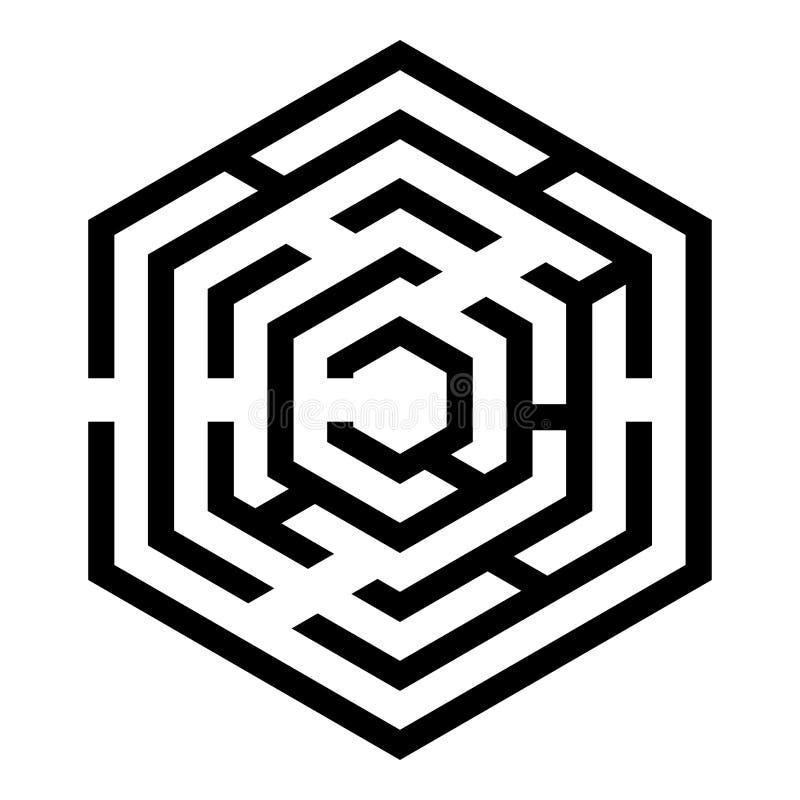 Шестиугольный лабиринт лабиринта шестиугольника лабиринта с 6 изображениями стиля иллюстрации вектора цвета черноты значка угла п бесплатная иллюстрация