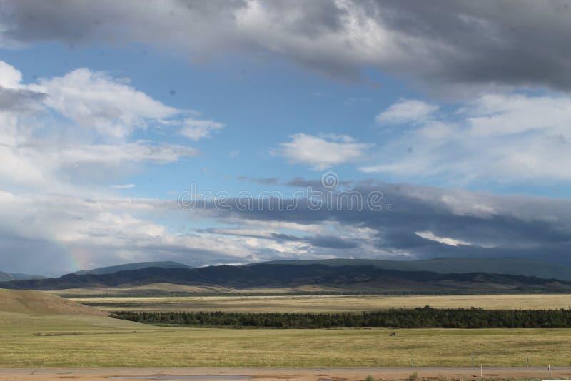 Широкая степь с желтой травой под голубым небом с белизной заволакивает горы Sayan Сибирь Россия стоковые изображения rf