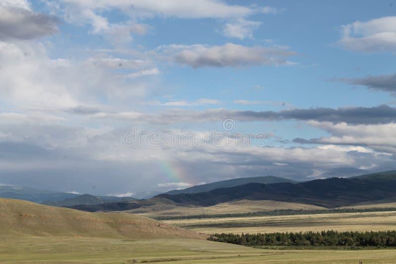 Широкая степь с желтой травой под голубым небом с белизной заволакивает горы Sayan Сибирь Россия стоковые фотографии rf