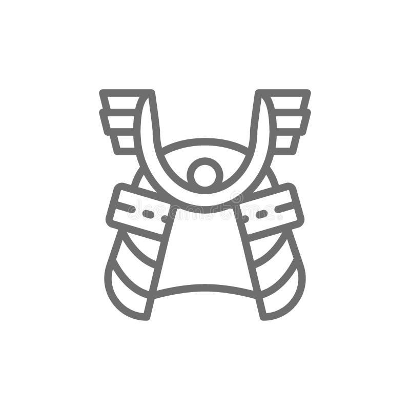 Шлем самурая, японская линия значок маски воина иллюстрация вектора