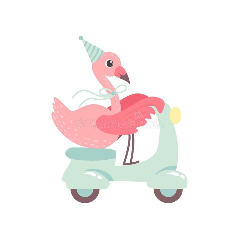 Шляпа партии милого скутера катания фламинго нося, красивая экзотическая иллюстрация вектора характера птицы иллюстрация штока