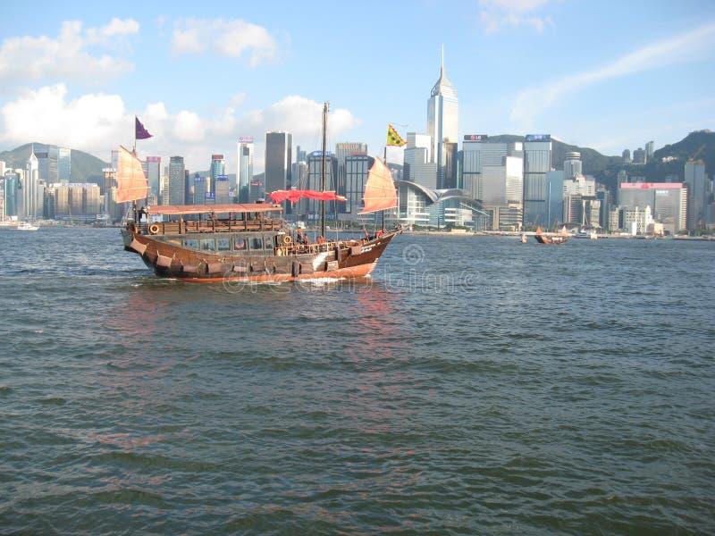 Шлюпка круиза луны Aqua в гавани Гонконга стоковое фото