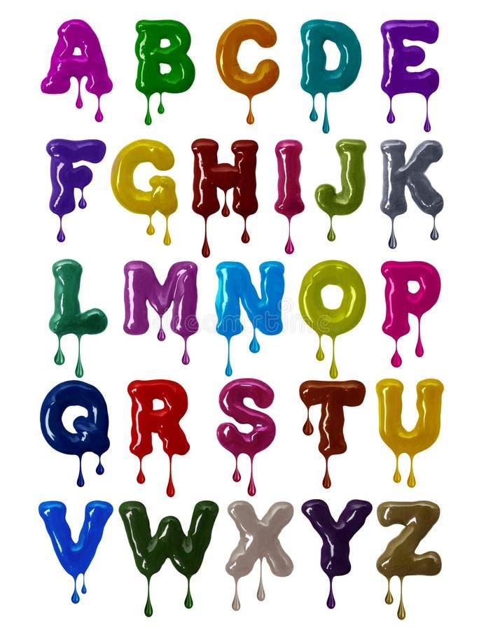 Шрифт латинского алфавита смелый сделанный красочной поливы с понижаясь падениями в высоком разрешении иллюстрация вектора