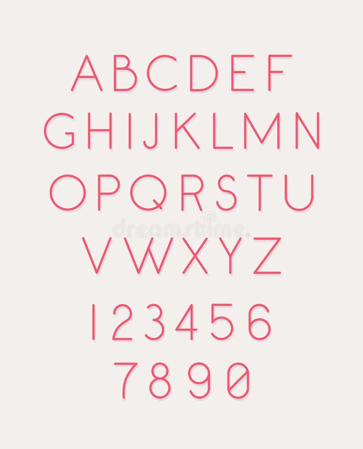 Шрифт установил писем и номеров вектор Линейный, тонкий, письма контура Латинский шрифт Розовые блестящие письма Стиль женщин все иллюстрация вектора