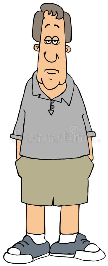 Шорты человека нося с руками в его карманах иллюстрация вектора
