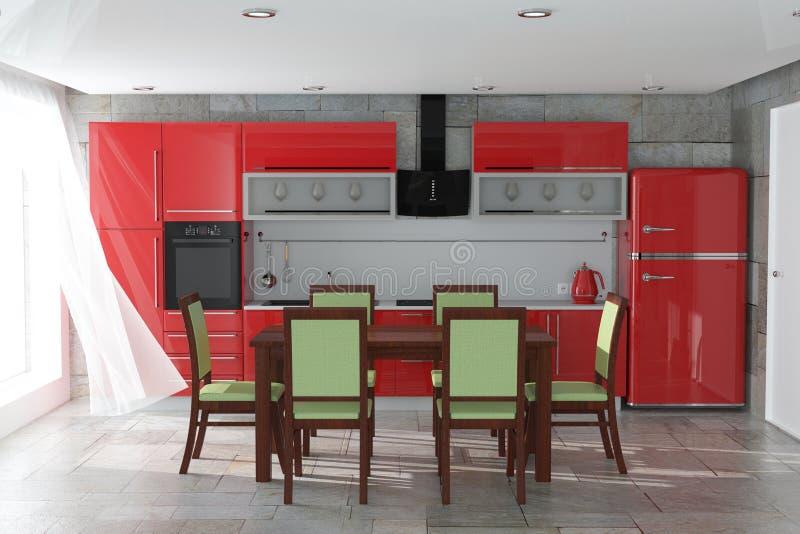 Таблица и стулья перед современной красной мебелью кухни с интерьером Kitchenware перевод 3d стоковое фото rf
