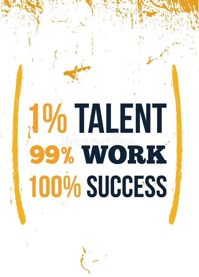 Талант более менее важный чем успех Мотивационная цитата плаката Дизайн сообщения премудрости иллюстрация вектора