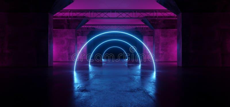 Танец этапа лазера Alienship круга Sci Fi неоновый накаляя дневной освещает ультрафиолетов пурпурный голубой пинк в темном пустом иллюстрация штока