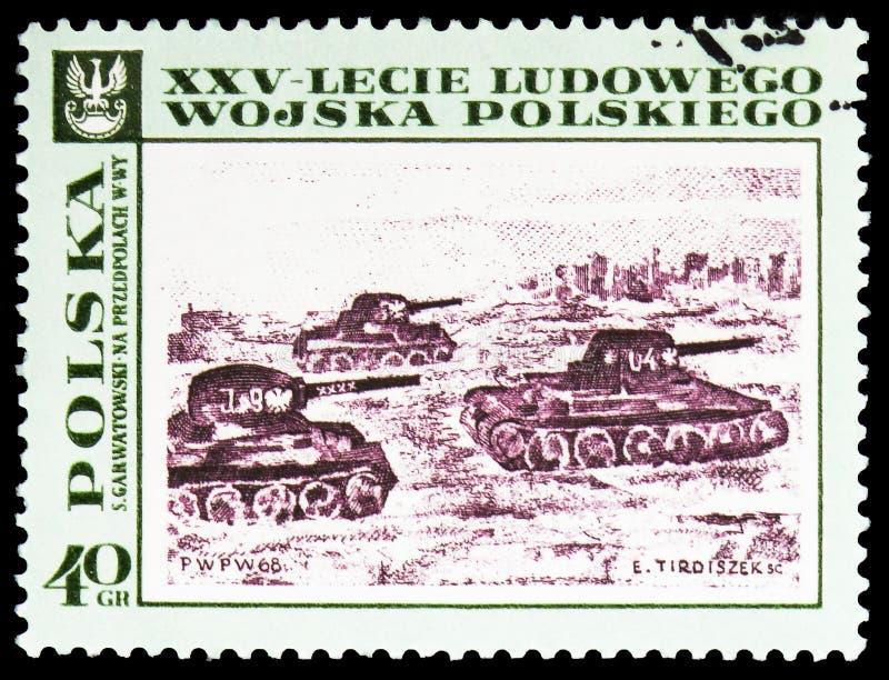 """Танки причаливая Варшаве, s Garwatowski, люди картин польские \ """"армия s, 25th serie годовщины, около 1968 стоковые изображения rf"""