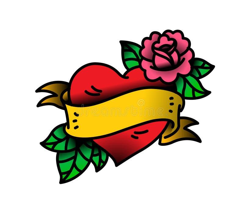 Татуировка сердца и цветка с цветком Татуировка в стиле американской старой школы Татуировка вектора плоская Иллюстрация иллюстрация штока