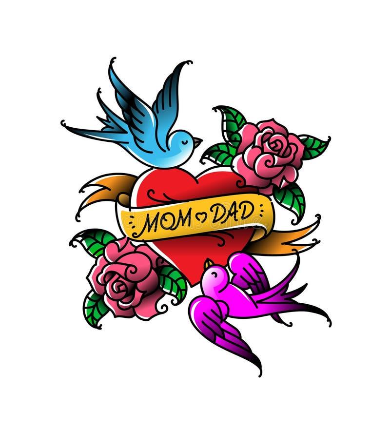 Татуировки с надписью мамы и папы 2 сердца с цветком и птицей Татуировка вектора плоская Поздравление для родителей стоковое изображение rf