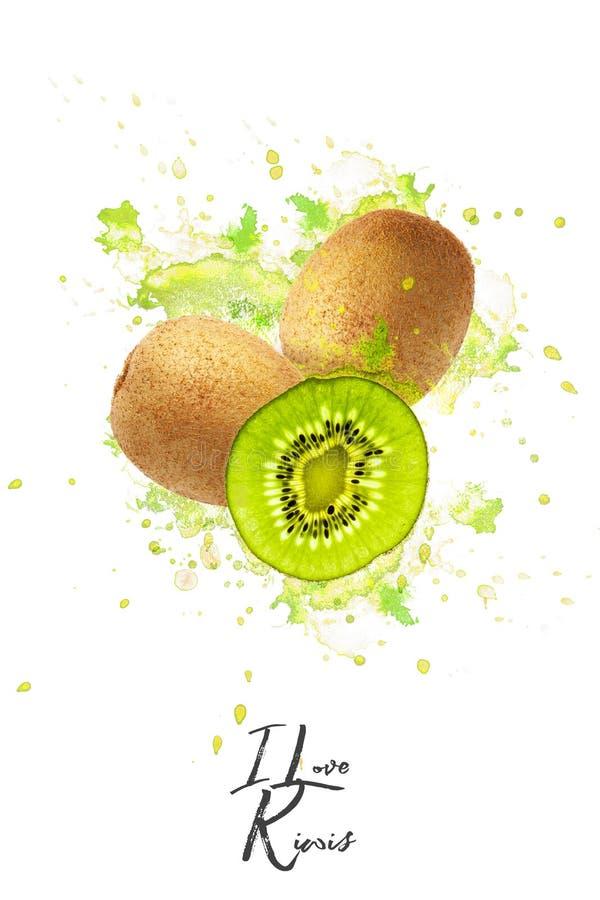 Творческий дизайн сделанный кивиов Плоское положение оливка масла кухни еды принципиальной схемы шеф-повара свежая над салатом ре стоковые фотографии rf
