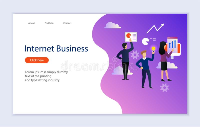 Творческий шаблон вебсайта интернет-страницы для дела интернета иллюстрация штока