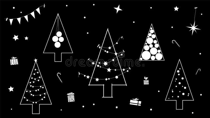 Творческий черно-белый контур рождественской елки в современном исполнении контура стоковые фото