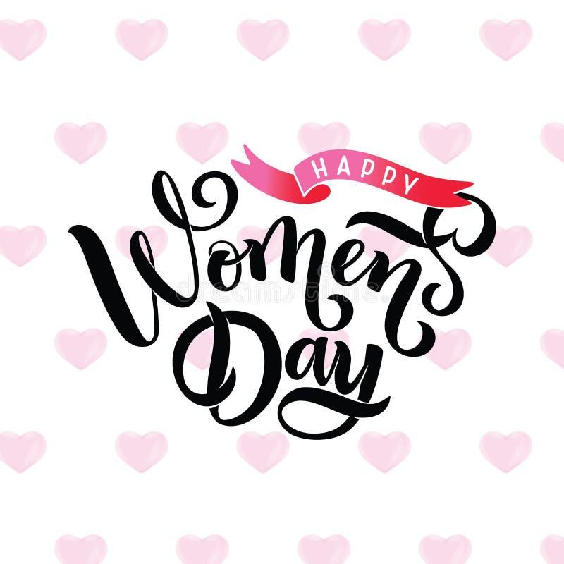 Текст литерности каллиграфии дня счастливых женщин нарисованный рукой приветствуя, безшовная картина поднял форма сердца лавр гра иллюстрация вектора